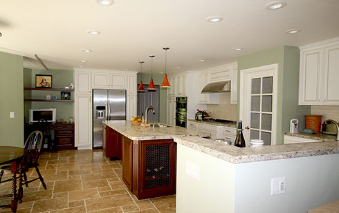 Kitchen and dining room stone floor tiling and granite countertops, installation and design.