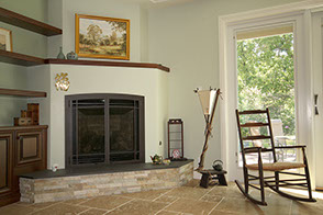 Stone fireplace and floor tiling design and installation