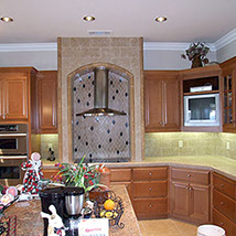 Kitchen stone and tile work, stone countertops and backsplashes