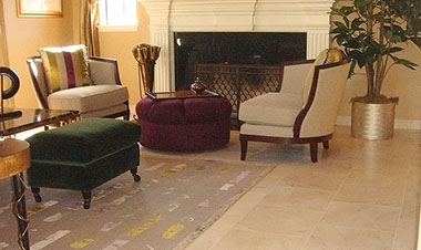 Design and installation of marble tile flooring for Mygrant family, homeowners in Danville, California by Rock Solid Creations.