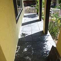 Patio and porch stone tiling, installation in California