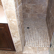 Shower stall, stone and ceramic tile for walls and floors